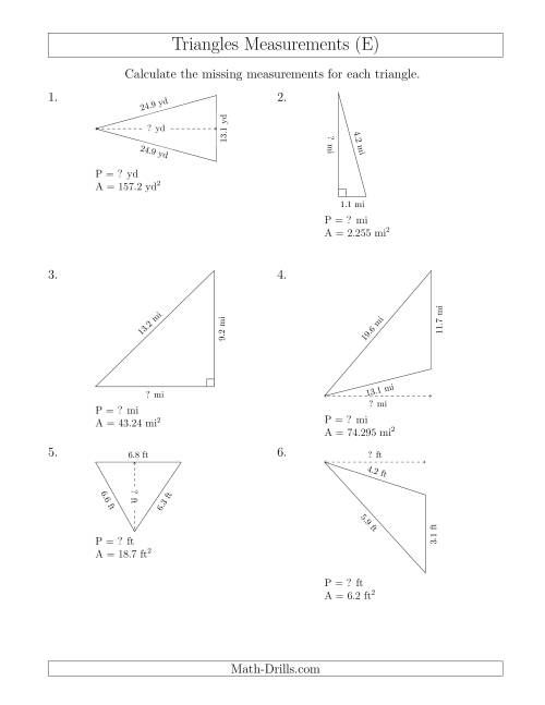 The Calculating the Perimeter and Height of Triangles (E) Math Worksheet