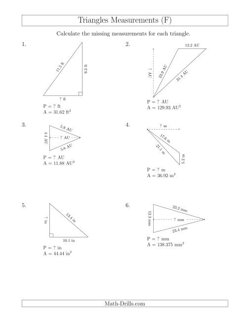 calculating the perimeter and height of triangles f measurement worksheet. Black Bedroom Furniture Sets. Home Design Ideas