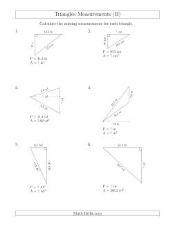 calculating various measurements of triangles b measurement worksheet. Black Bedroom Furniture Sets. Home Design Ideas