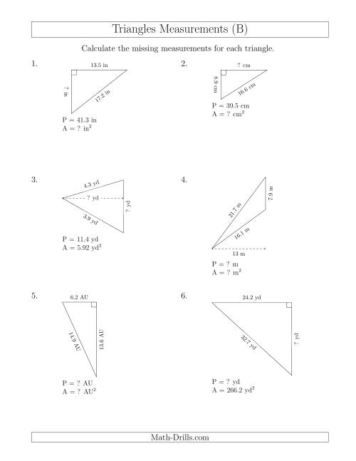The Calculating Various Measurements of Triangles (B) Math Worksheet