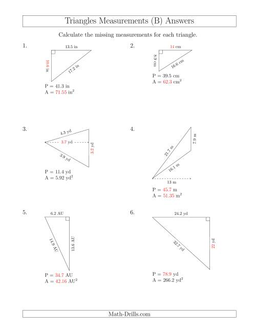 The Calculating Various Measurements of Triangles (B) Math Worksheet Page 2