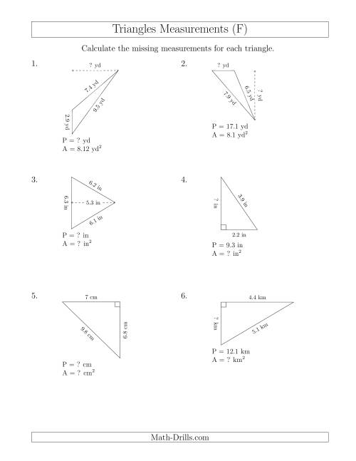 The Calculating Various Measurements of Triangles (F) Math Worksheet