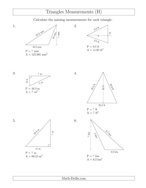The Calculating Various Measurements of Triangles (H) Math Worksheet