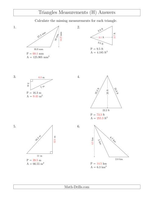 The Calculating Various Measurements of Triangles (H) Math Worksheet Page 2