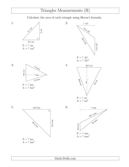 The Calculating the Perimeter and Area of Triangles Using Heron's Formula for the Area. (H) Math Worksheet