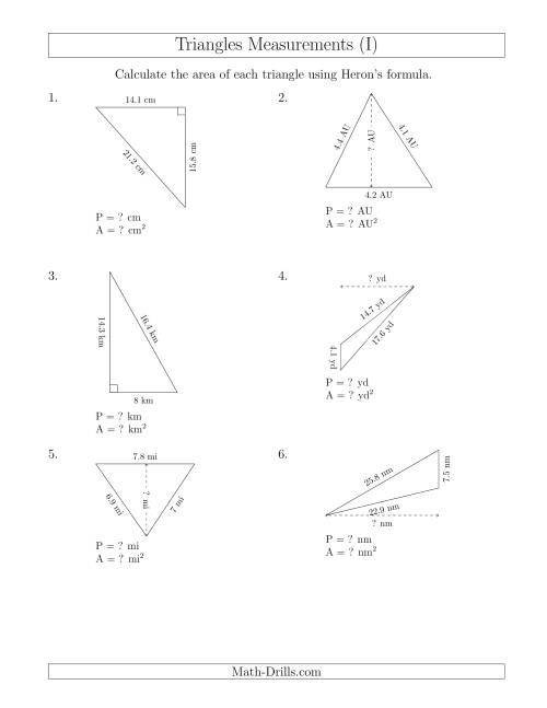 The Calculating the Perimeter and Area of Triangles Using Heron's Formula for the Area. (I) Math Worksheet