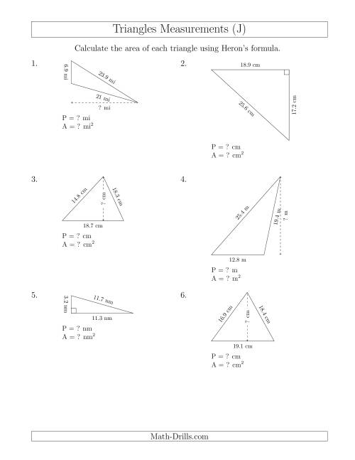 The Calculating the Perimeter and Area of Triangles Using Heron's Formula for the Area. (J) Math Worksheet
