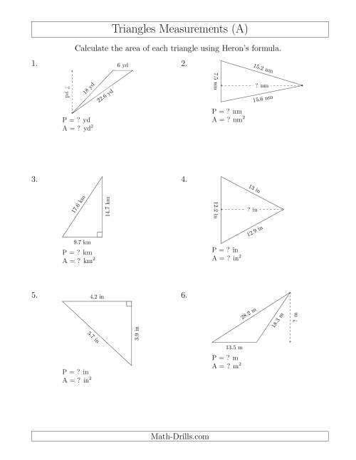 The Calculating the Perimeter and Area of Triangles Using Heron's Formula for the Area. (All) Math Worksheet
