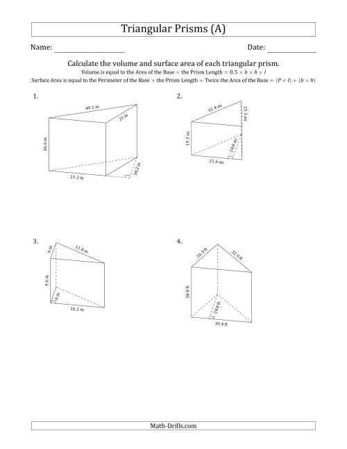 The Volume and Surface Area of Triangular Prisms (Black and White) (A) Math Worksheet