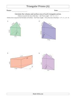 Volume and Surface Area of Triangular Prisms