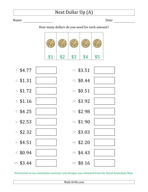 The Next Dollar Up Strategy with Amounts to $5 (Australia) (A) Math Worksheet
