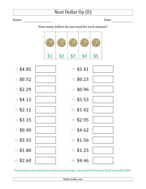 The Next Dollar Up Strategy with Amounts to $5 (Australia) (E) Math Worksheet