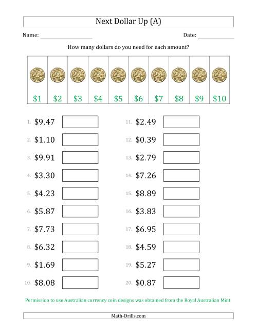 The Next Dollar Up Strategy with Amounts to $10 (Australia) (A) Math Worksheet