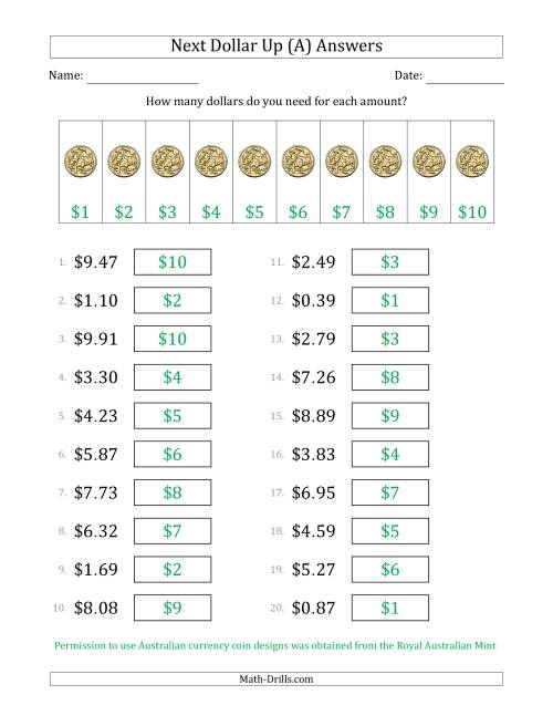 The Next Dollar Up Strategy with Amounts to $10 (Australia) (A) Math Worksheet Page 2