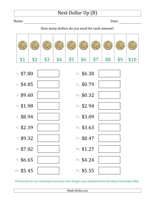 The Next Dollar Up Strategy with Amounts to $10 (Australia) (B) Math Worksheet