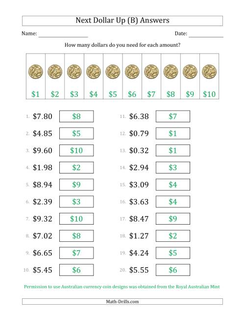 The Next Dollar Up Strategy with Amounts to $10 (Australia) (B) Math Worksheet Page 2