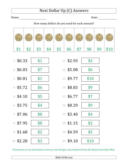 The Next Dollar Up Strategy with Amounts to $10 (Australia) (C) Math Worksheet Page 2