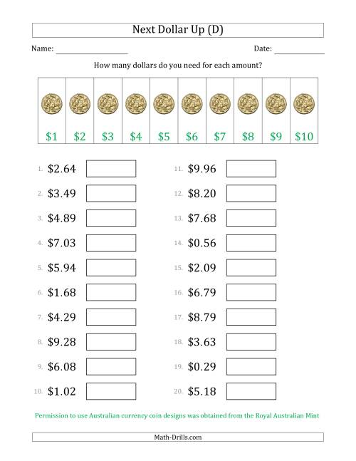 The Next Dollar Up Strategy with Amounts to $10 (Australia) (D) Math Worksheet