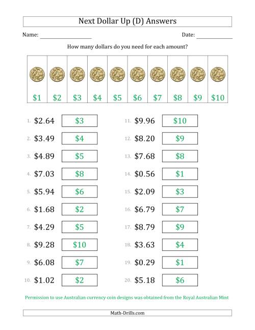 The Next Dollar Up Strategy with Amounts to $10 (Australia) (D) Math Worksheet Page 2