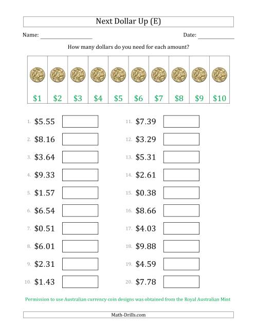 The Next Dollar Up Strategy with Amounts to $10 (Australia) (E) Math Worksheet