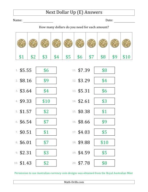 The Next Dollar Up Strategy with Amounts to $10 (Australia) (E) Math Worksheet Page 2