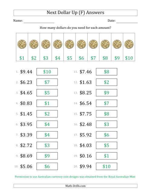 The Next Dollar Up Strategy with Amounts to $10 (Australia) (F) Math Worksheet Page 2