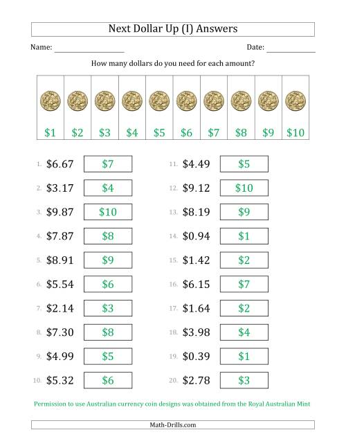 The Next Dollar Up Strategy with Amounts to $10 (Australia) (I) Math Worksheet Page 2