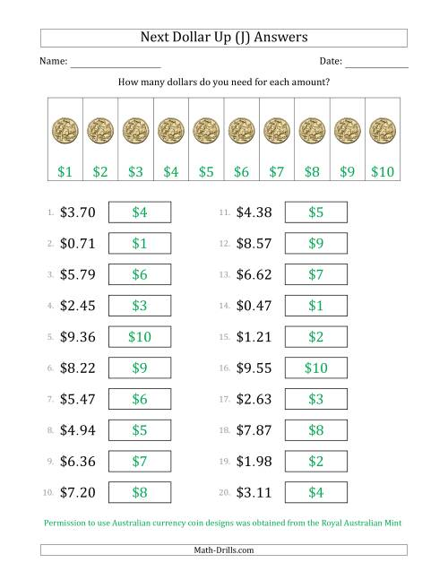 The Next Dollar Up Strategy with Amounts to $10 (Australia) (J) Math Worksheet Page 2