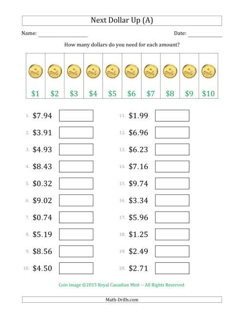 The Next Dollar Up Strategy with Amounts to $10 (Canada) (A) Math Worksheet