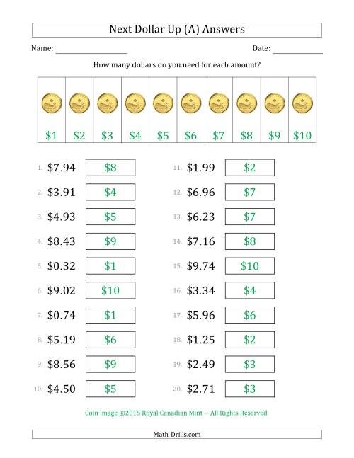 The Next Dollar Up Strategy with Amounts to $10 (Canada) (A) Math Worksheet Page 2
