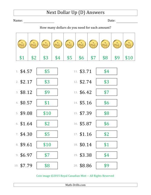 The Next Dollar Up Strategy with Amounts to $10 (Canada) (D) Math Worksheet Page 2