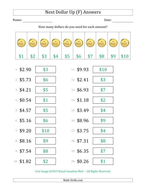 The Next Dollar Up Strategy with Amounts to $10 (Canada) (F) Math Worksheet Page 2