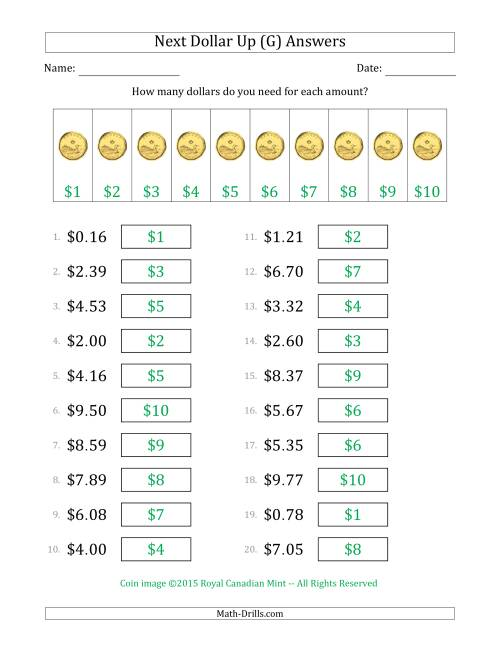 The Next Dollar Up Strategy with Amounts to $10 (Canada) (G) Math Worksheet Page 2
