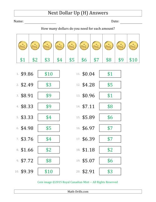 The Next Dollar Up Strategy with Amounts to $10 (Canada) (H) Math Worksheet Page 2