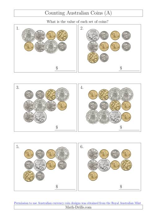 The Counting Australian Coins (A) Math Worksheet