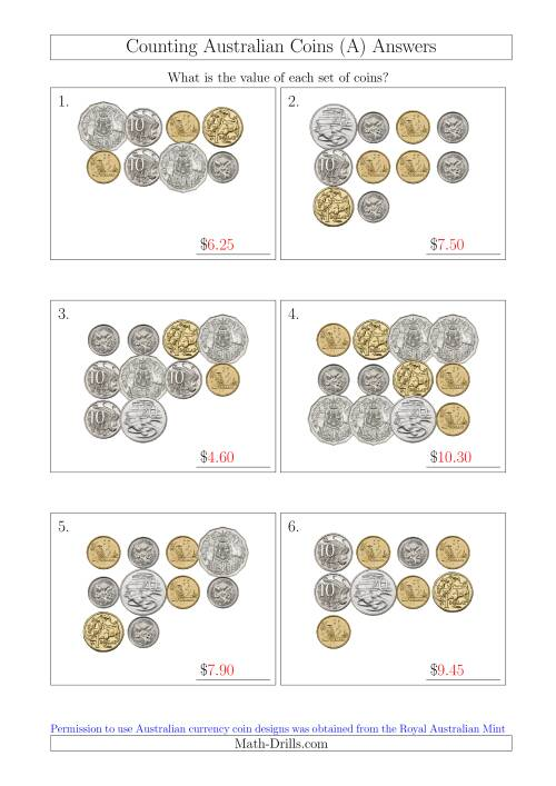 The Counting Australian Coins (A) Math Worksheet Page 2