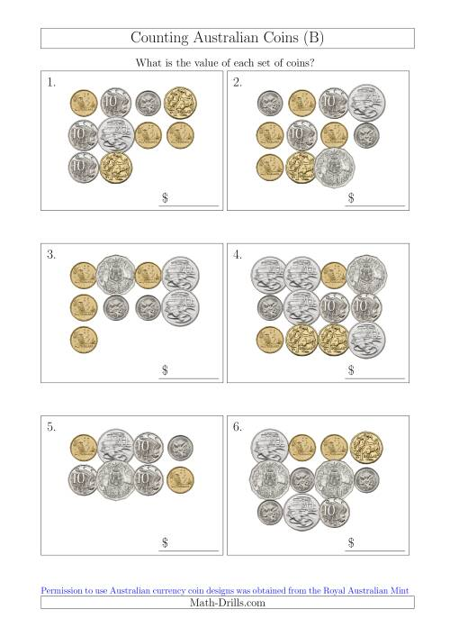 The Counting Australian Coins (B) Math Worksheet