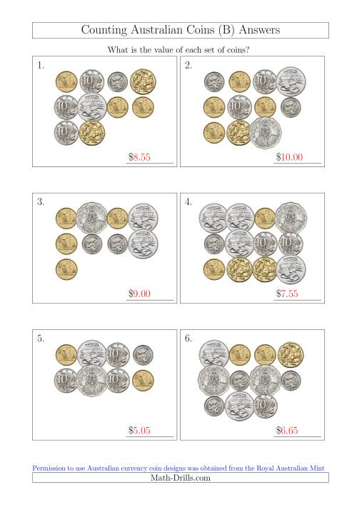 The Counting Australian Coins (B) Math Worksheet Page 2