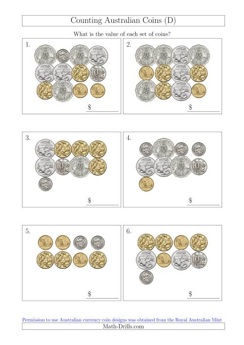 The Counting Australian Coins (D) Math Worksheet