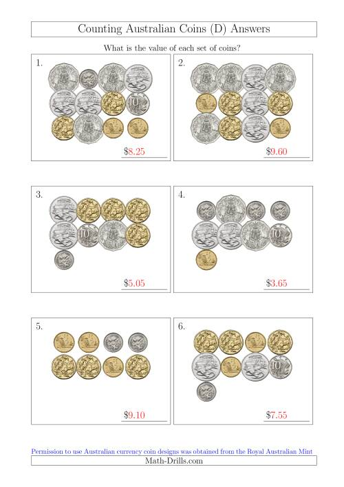 The Counting Australian Coins (D) Math Worksheet Page 2
