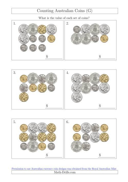 The Counting Australian Coins (G) Math Worksheet