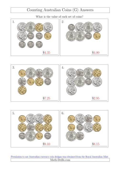 The Counting Australian Coins (G) Math Worksheet Page 2