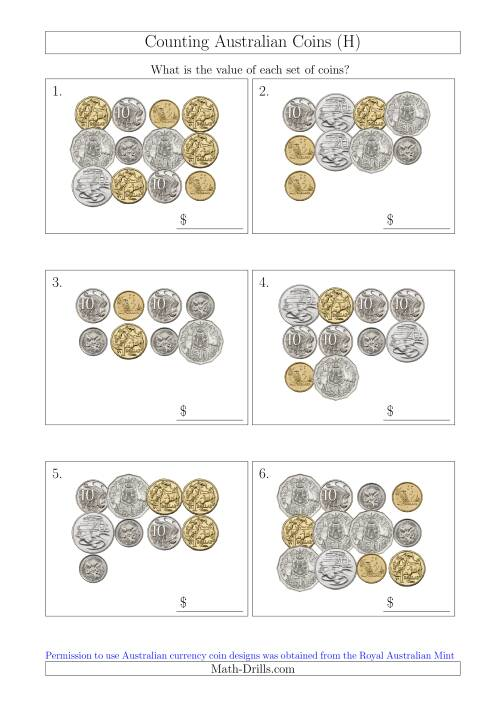 The Counting Australian Coins (H) Math Worksheet