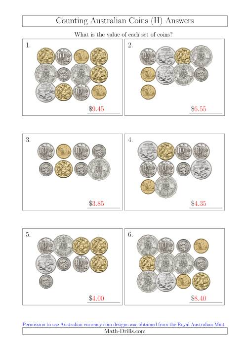The Counting Australian Coins (H) Math Worksheet Page 2