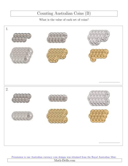 The Counting Australian Coins Sorted Version (B) Math Worksheet
