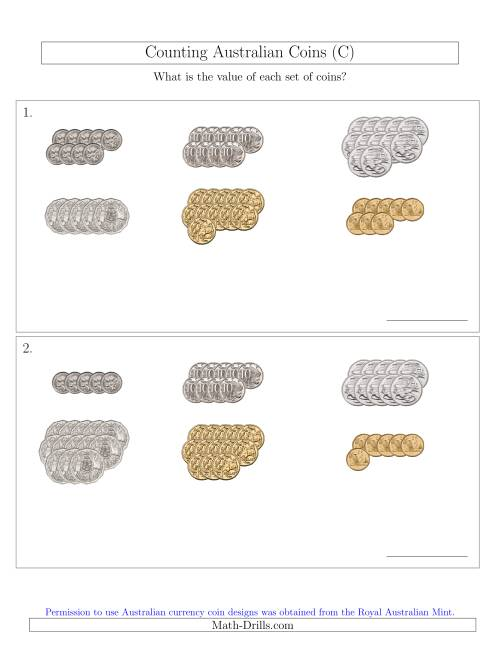The Counting Australian Coins Sorted Version (C) Math Worksheet