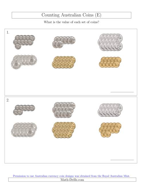 The Counting Australian Coins Sorted Version (E) Math Worksheet