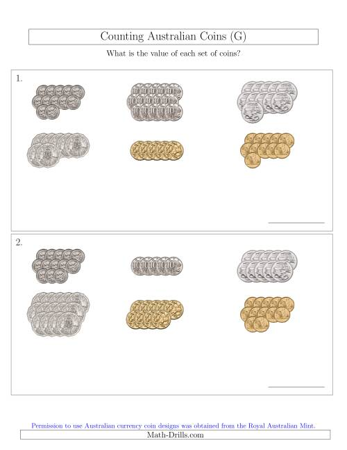 The Counting Australian Coins Sorted Version (G) Math Worksheet