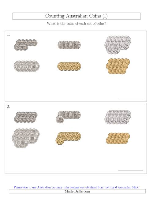 The Counting Australian Coins Sorted Version (I) Math Worksheet