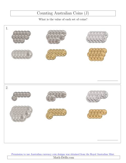 The Counting Australian Coins Sorted Version (J) Math Worksheet